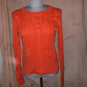 J. crew ASNEW orange cable knit cotton sweater S